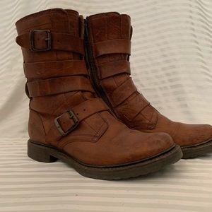 Frye Veronica Strap Combat Boots in Cognac